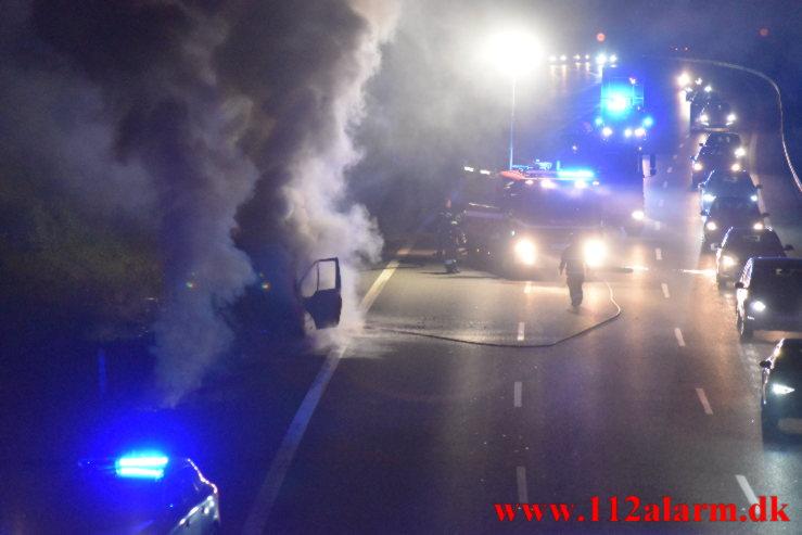Bilbrand. Østjyske Motorvej e45 ved 106 Km. 04/09-2021. KL. 23:08.